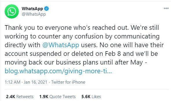 whatsapp new privacy policy delayed by 3 months